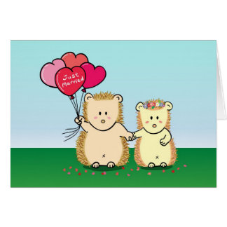 Love and Romance - Cute Hedgehog couple with heart Card