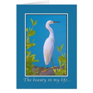 Love and Romance, Snowy Egret Bird Greeting Card