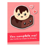Love and Romance - Vanilla Ice Cream and Brownie Postcard
