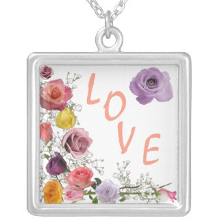 love and romantic roses pendant necklace