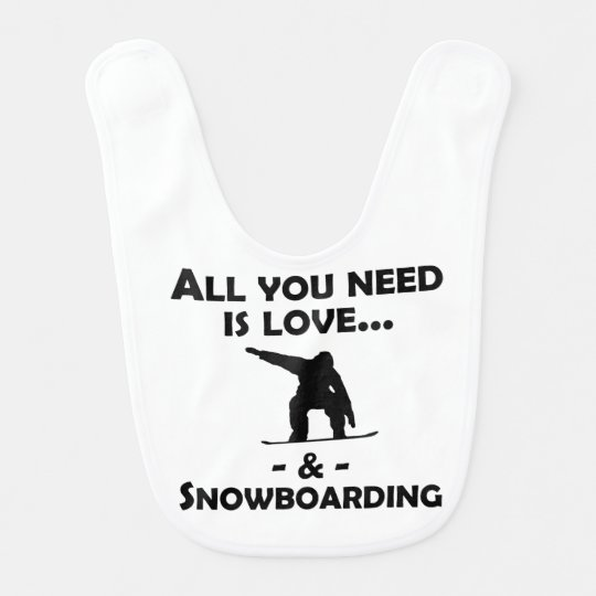 Love And Snowboarding Baby Bibs
