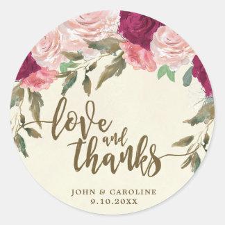 love and thank burgundy floral wedding sticker