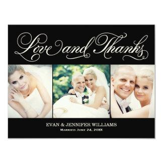 "Love and Thanks   Black Wedding Thank You Card 4.25"" X 5.5"" Invitation Card"