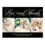 Love and Thanks | Black Wedding Thank You Postcard