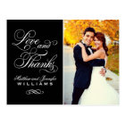 Love and Thanks | Black Wedding Thank You Postcard
