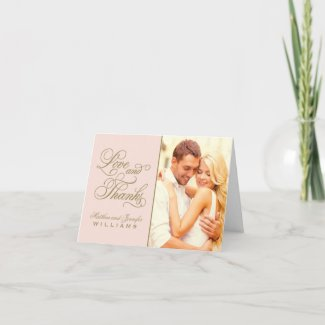 Love and Thanks | Blush and Antique Wedding Thank You Card
