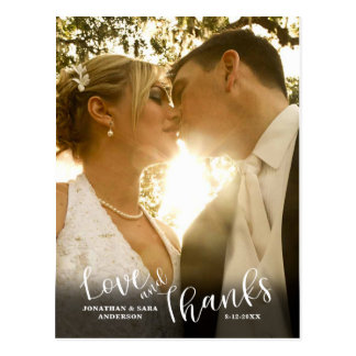 Love and Thanks | Calligraphy Wedding Thank You Postcard