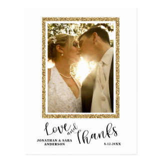 Love and Thanks | Faux Glitter Wedding Thank You Postcard
