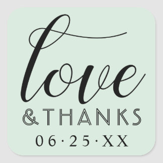 Love and Thanks | Mint Green Wedding Square Sticker