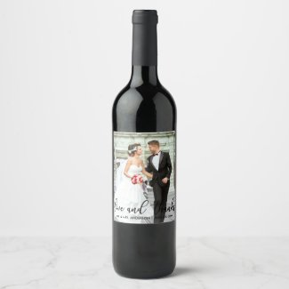 Love and Thanks Modern Wedding Photo Thank You SB Wine Label