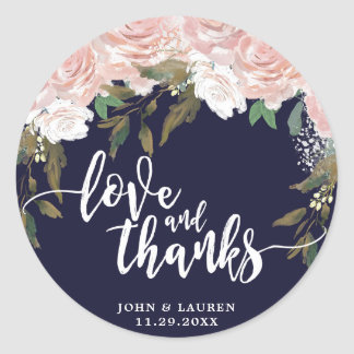 love and thanks Navy pale pink floral stickers