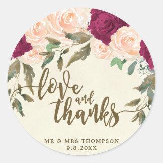 love and thanks peach burgundy floral sticker