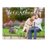 LOVE AND THANKS SCRIPT WEDDING THANK YOU POSTCARD