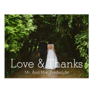 Love and Thanks Simple Wedding Photo Thank You Postcard