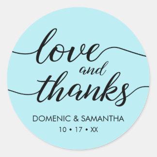 Love and Thanks Sticker • elegant script • cyan