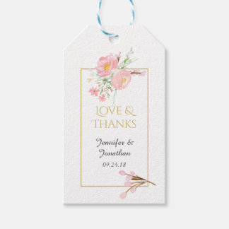 Love and Thanks Watercolor Pink Gold Thank You Pack Of Gift Tags