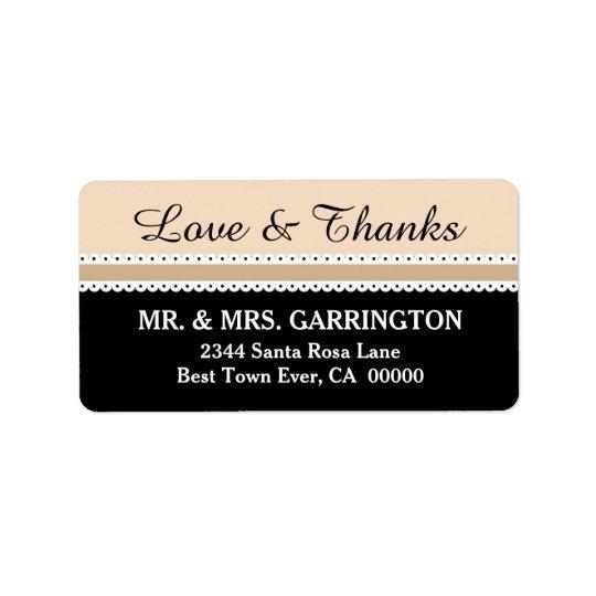 LOVE and THANKS Wedding Scalloped Ribbon V06 Label