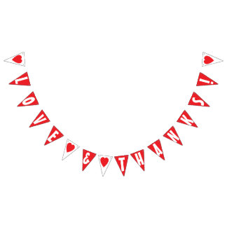 LOVE AND THANKS! WEDDING SIGN Triangle Shape Bunting Flags