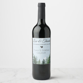 Love and Thanks Wedding Wine Label | Winter Pine