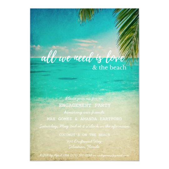 Love and the Beach Engagement Party Invitation
