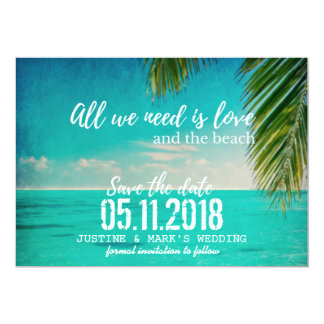 """Love and the Beach Wedding Save the Dates 5"""" X 7"""" Invitation Card"""