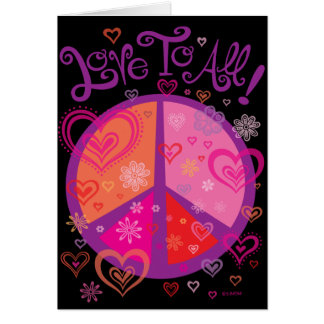 Love and the Peace Sign Valentine's Card