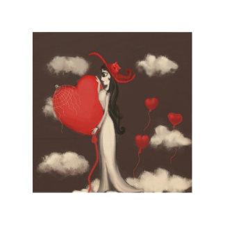 Love and valenitne wood print