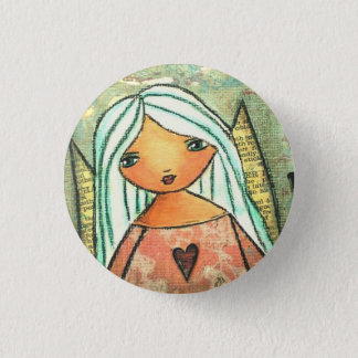 Love angel button badge