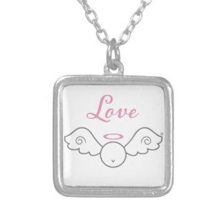 Love Angel Sterling Silver Plated Necklace