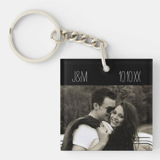 Love Anniversary Couple Photo Date Initials Double-Sided Square Acrylic Keychain