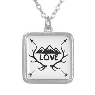 Love antlers and arrows silver plated necklace