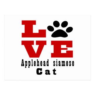 Love Applehead siamese Cat Designes Postcard