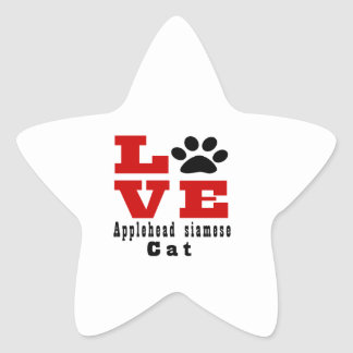 Love Applehead siamese Cat Designes Star Sticker