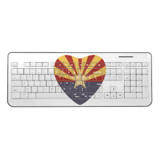 Love Arizona Heart Flag Wireless Keyboard