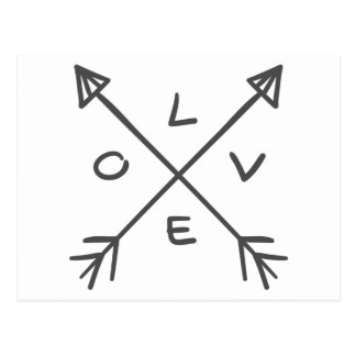 Love Arrows Monochrome Black and White Wedding Postcard