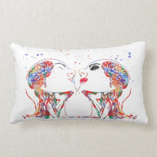 Love art, face anatomy, brain anatomy, medical art lumbar pillow