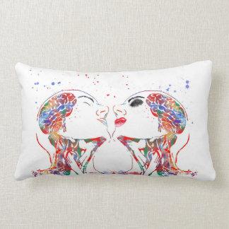 Love art, face anatomy, brain anatomy, medical art lumbar pillow