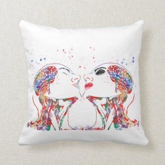 Love art, face anatomy, brain anatomy, medical art throw pillow