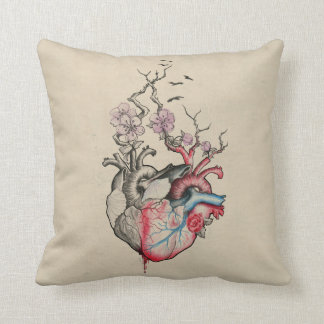 Love art merged anatomical hearts with flowers throw pillow