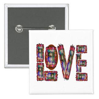 LOVE Artistic Script 2 Inch Square Button