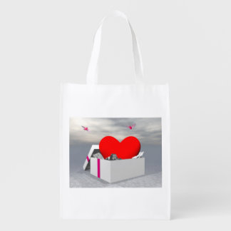 Love as a gift - 3D render Reusable Grocery Bag