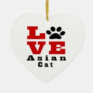 Love Asian Cat Designes Ceramic Heart Ornament