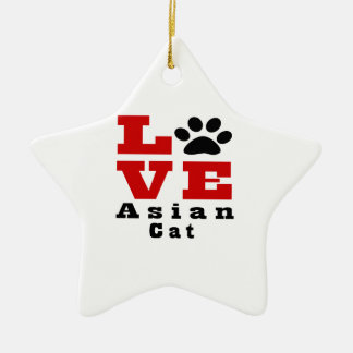 Love Asian Cat Designes Ceramic Star Ornament