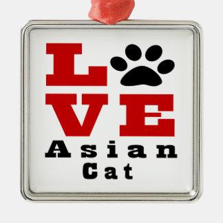 Love Asian Cat Designes Silver-Colored Square Ornament