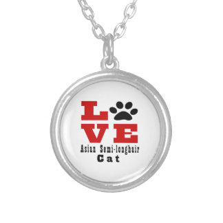 Love Asian Semi-longhair Cat Designes Silver Plated Necklace