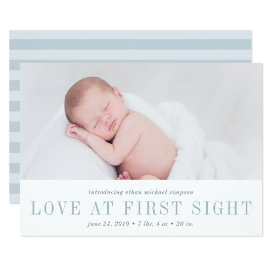 Love at First Sight Birth Announcement | Blue