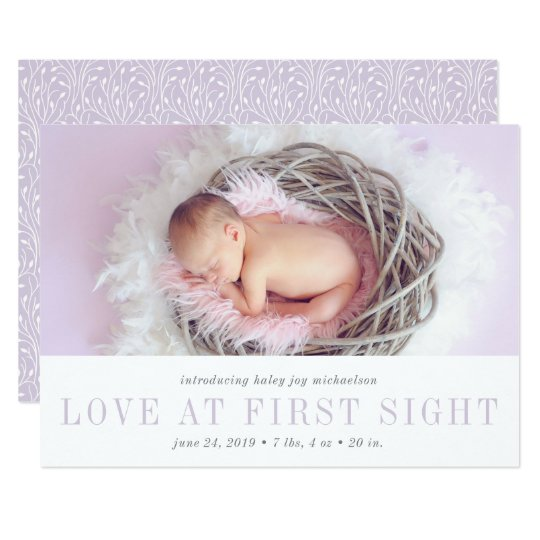 Love at First Sight Birth Announcement | Lavender