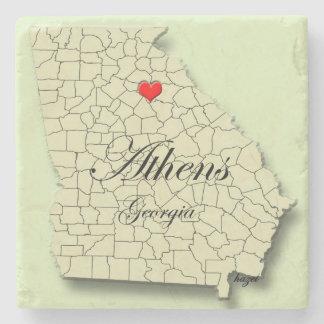 Love Athen, Georgia, Map, Marble Coasters