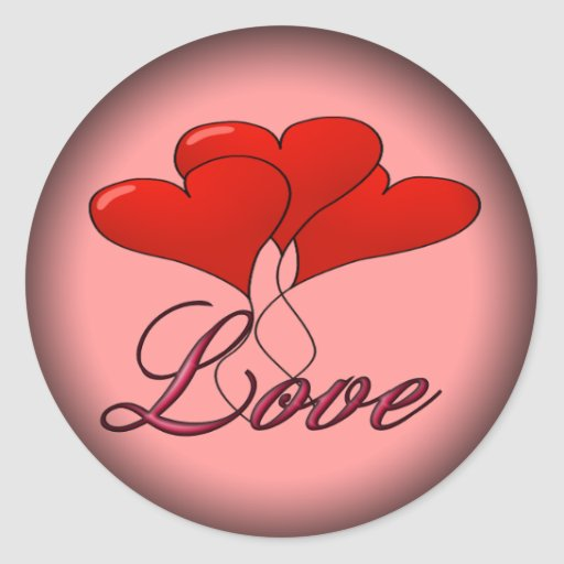 Love Balloon Float Fade to Black Round Stickers