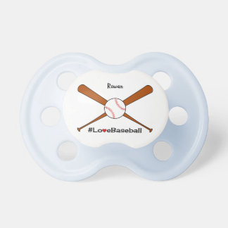 Love baseball add name sporting pacifier